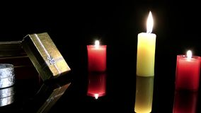 Candles and gift box. Surprise Celebration Chrismas or Valentine`s Day concept stock video footage
