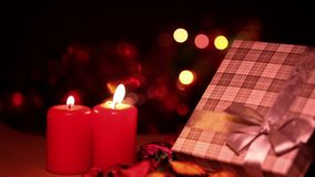 Candles and gift box. Surprise Celebration Chrismas or Valentine`s Day concept stock video