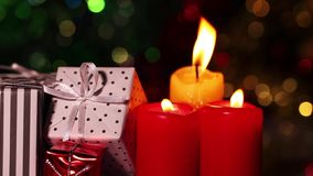 Candles and gift box. Surprise Celebration Chrismas or Valentine`s Day concept stock footage