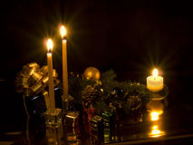 Candles and  gifts on Christmas in boxes Stock Photography