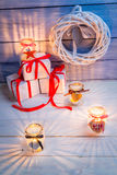 Candles and gifts for Christmas Royalty Free Stock Image