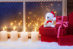 Candles, gifts, Teddy Stock Images