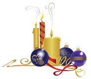 Candles and glass balls, christmas attributes stock illustration