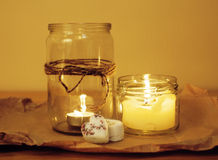 Candles in glass burning romantic celecration Stock Image