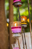 Candles in glass candle holders Royalty Free Stock Image