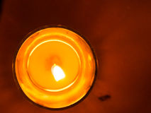 Candles in glass jars put as romantic lamps Stock Photo