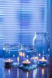 Candles in glass jars Royalty Free Stock Photo