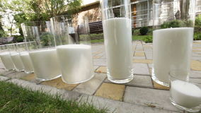 Candles glass in nature stock footage