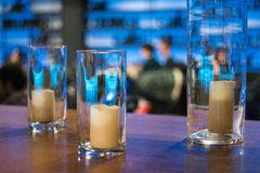 Candles in glass vases, element for design and decoration in a c Stock Photos