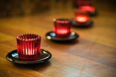 Candles. In the glasses Royalty Free Stock Photography