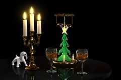 Candles and glasses. Festive still life for the New Year, 3d illustration Royalty Free Stock Images