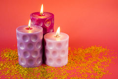 Candles with glitter stars Royalty Free Stock Image