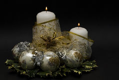 Candles and golden riband. Stock Image
