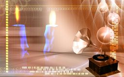 Candles and gramophone Royalty Free Stock Photography