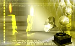 Candles and gramophone Stock Image