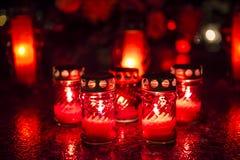 Candles on a grave Stock Photos