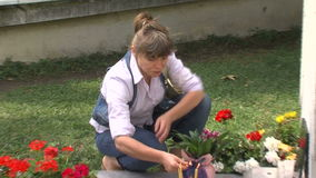 Candles on the grave of Vanga in Rupite, Bulgaria stock video