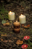Candles  on the ground Royalty Free Stock Photography