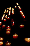 Flame,Candle,burning,votive,christmas. Group of burning candles flames votive Stock Photos