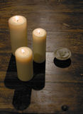 Candle,flame,burning, hot, three,table. Group of burning candles flames table Royalty Free Stock Photo