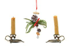 Candles and handmade christmas decoration Stock Photos
