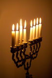 Candles on hanukkah menorah Royalty Free Stock Photography