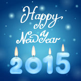 Candles 2015 Happy New Year. On blue stock illustration