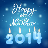 Candles 2014 Happy New Year. Illustration stock illustration