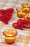 Candles and hearts Royalty Free Stock Photography