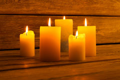 Candles for the holiday and romantic evenings. Royalty Free Stock Photos