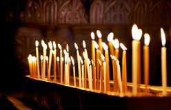 Candles in the Holy Sepulchre Church in Jerusalem Stock Image