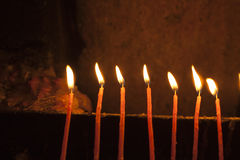 Candles in the Holy Sepulchre Stock Photography