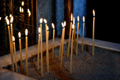Candles. Honey candles in a church in Cyprus Stock Photo