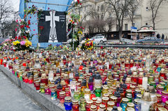 Candles in honor of those killed in the Maidan in  Royalty Free Stock Photo
