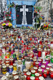 Candles in honor of those killed in the Maidan in  Stock Photo