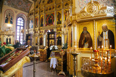 Candles and icon in russian church altar Royalty Free Stock Photography