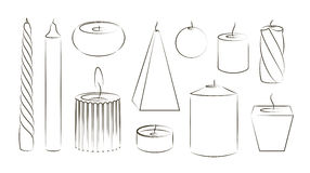Candles icon set Royalty Free Stock Photos