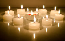 Candles In The Shape Of Heart Stock Photography