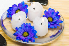 Candles In Water With Flowers Royalty Free Stock Photos