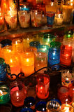 Candles inside a church in Oaxaca. Colorful candles inside a church in Oaxaca, Mexico Stock Images