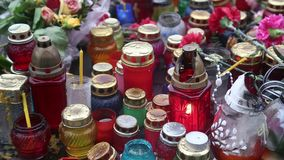 Candles inside glass lamps stock video footage