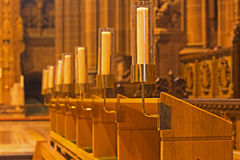 Candles inside Liverpool Anglican Cathedral stock photo