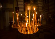 Candles int church stock photography