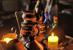 Candles and interior medieval tavern, Royalty Free Stock Images