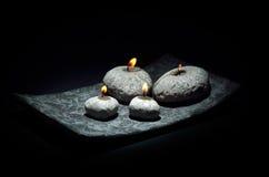 Candles isolated on black background. Burning candles isolated on black background Stock Photography