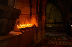 Candles in a jerusalem church. Jesus last way - pray in a holy church Stock Photos
