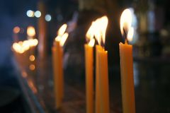 Candles in a joss house. Stock Image