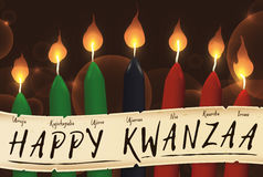 Candles of Kwanzaa with a Scroll with the Seven Principles, Vector Illustration Royalty Free Stock Image