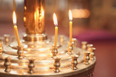 Candles and lamp close-up. Interior Of Orthodox Church. In Easter. baby christening. Ceremony a in Christian . bathing the into the baptismal font Stock Image