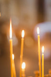 Candles and lamp close-up. Interior Of Orthodox Church. In Easter. baby christening. Ceremony a in Christian . bathing the into the baptismal font Stock Photo